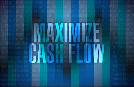 maximize: maximize cash flow binary sign illustration design over binary background