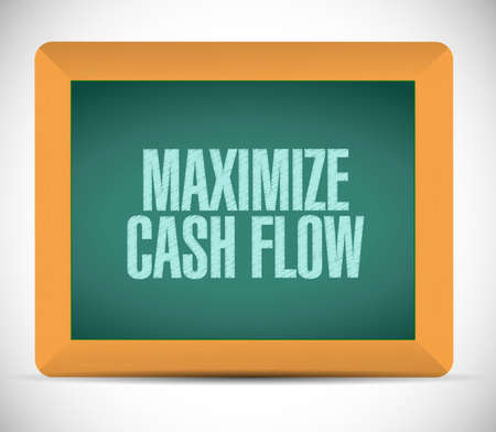 maximize: maximize cash flow board sign illustration design over white background Stock Photo