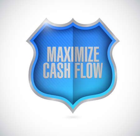 maximize: maximize cash flow seal sign illustration design over white background