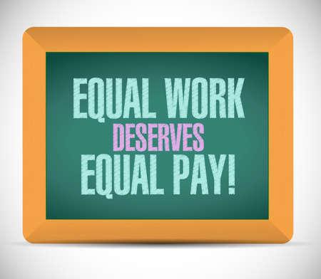 equal work deserves equal pay board sign illustration design Stock Photo