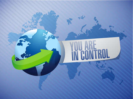 manage: you are in control globe sign concept illustration design graphic