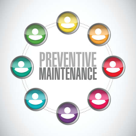 preventive: preventive maintenance people diagram sign concept illustration design over white