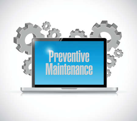 preventive: preventive maintenance computer technology sign concept illustration design over white Illustration