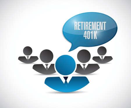 roth: retirement 401k team sign concept illustration design over white