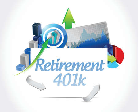 retirement savings: retirement 401k business sign concept illustration design over white Illustration