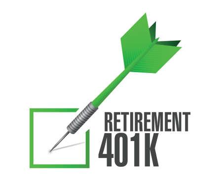 retirement 401k check dart sign concept illustration design over white Ilustração