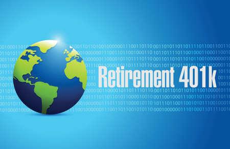 pensionering 401k wereldbol teken concept illustratie ontwerp over blauwe