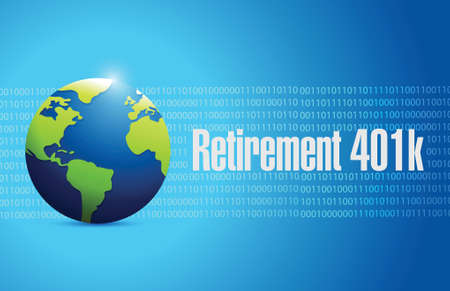 retirement savings: retirement 401k globe sign concept illustration design over blue