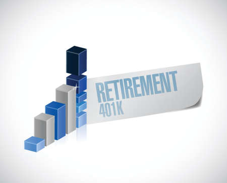 retire: retirement 401k business graph sign concept illustration design over white Illustration