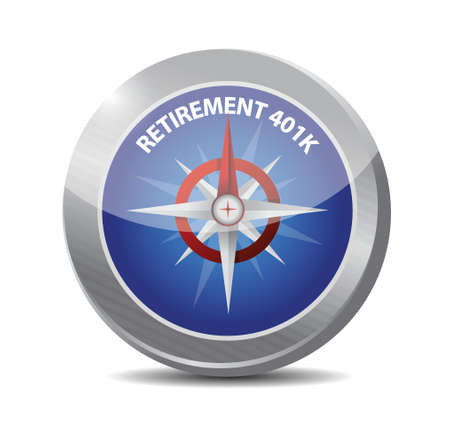 retirement 401k compass sign concept illustration design over white