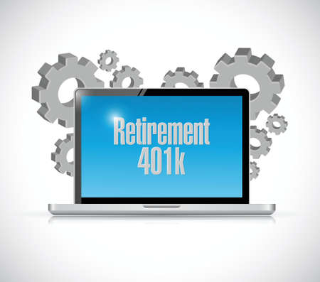 retirement 401k computer technology sign concept illustration design over white