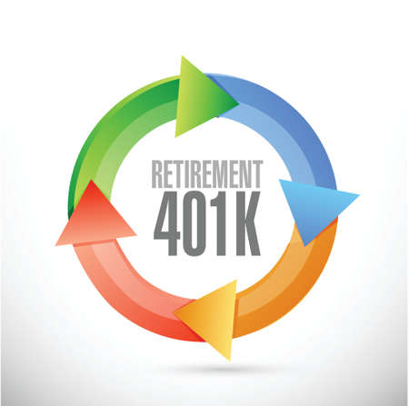 roth: retirement 401k cycle sign concept illustration design over white
