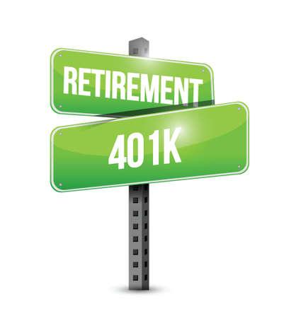 retirement 401k street sign concept illustration design over white Çizim