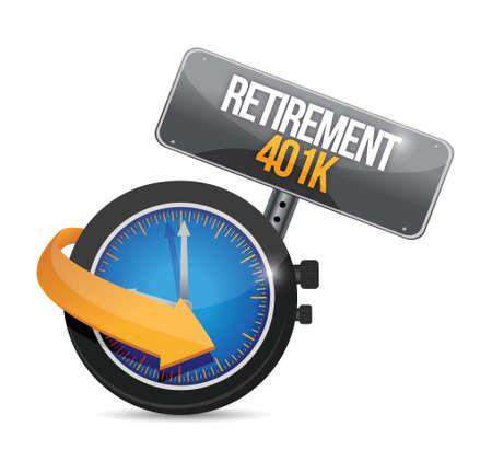retirement 401k watch time sign concept illustration design over white
