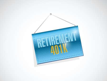 retirement 401k banner sign concept illustration design over white