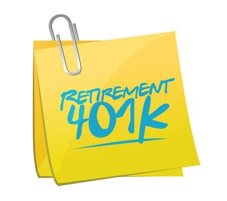 retirement 401k memo post sign concept illustration design over white