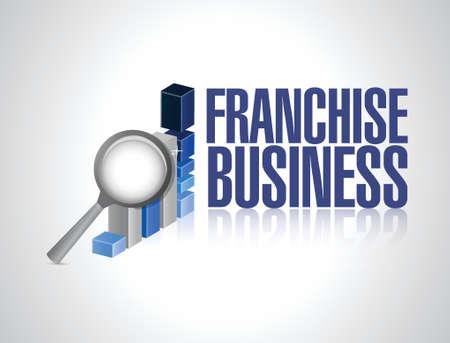 franchise business graph sign illustration design over white Illustration