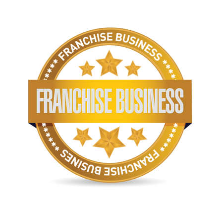 directly above: franchise business gold seal sign illustration design over white