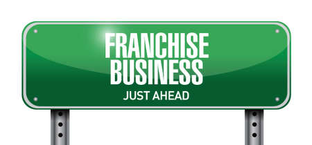 franchise business street sign illustration design over white Illustration