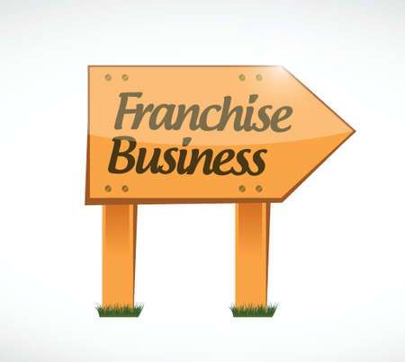 directly above: franchise business wood sign illustration design over white