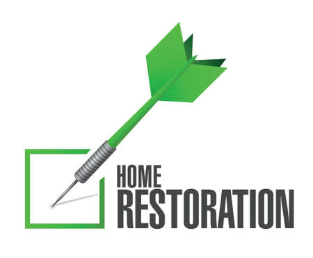 home restoration check dart sign illustration design over white 矢量图像