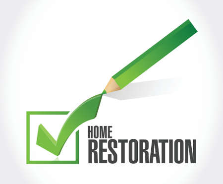home restoration check mark sign illustration design over white