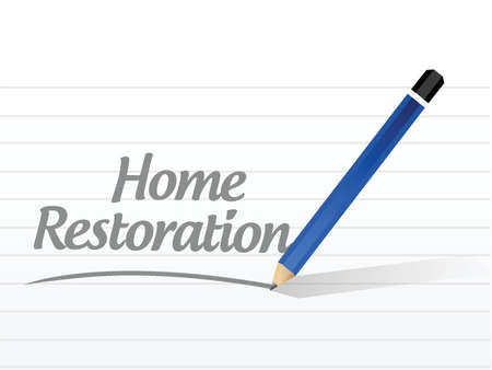 home restoration message sign illustration design over white