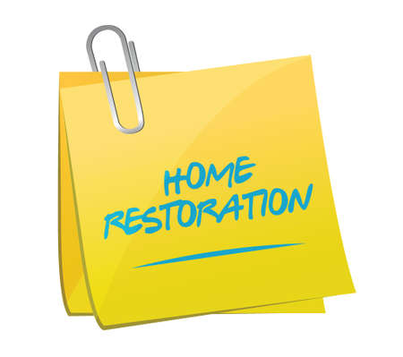 memo: home restoration memo post sign illustration design over white