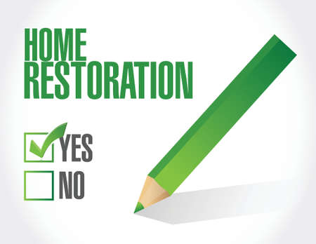 home restoration check approval sign illustration design over white 矢量图像