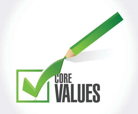 core values check mark sign illustration design over white Illusztráció