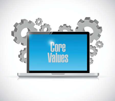 regard: core values technology sign illustration design over white