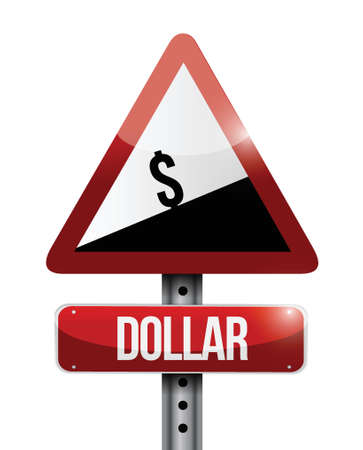 dollar currency price falling warning sign illustration design over white Vector
