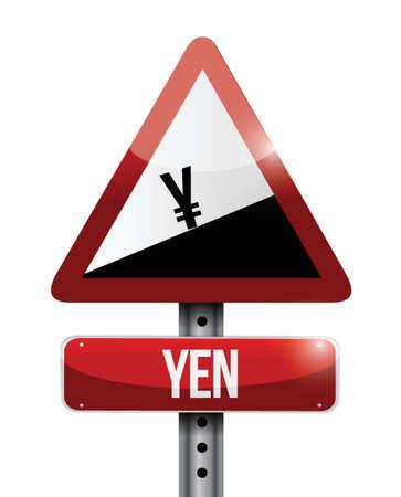 yen currency price falling warning sign illustration design over white Imagens - 38849883