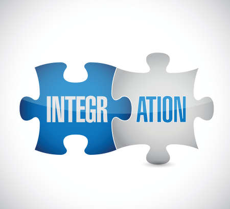 integration puzzle pieces sign illustration design over white Vectores