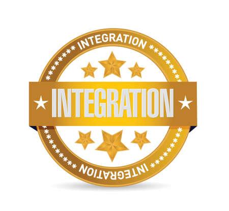 integration gold seal sign illustration design over white Vector