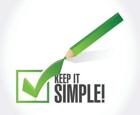 keep it simple check mark sign illustration design over white Vettoriali
