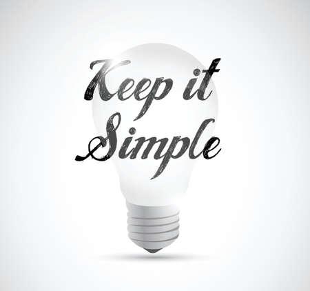 keep it simple light bulb idea sign illustration design over white