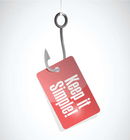 keep it simple hook tag sign illustration design over white Vettoriali