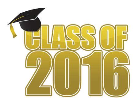 tassel: Graduation 2016. hat, tassel and gold sign illustration design Illustration