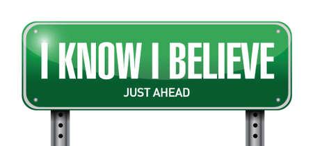 know: I Know I believe road sign illustration design over white