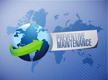 preventive maintenance globe sign concept illustration design over blue