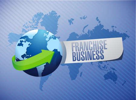 franchise business globe sign illustration design over blue Stock Photo