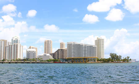 Downtown Miami view along Biscayne Bay from Brickell Key. photo