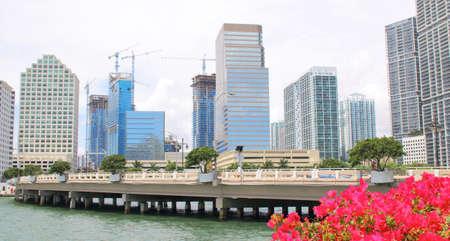 miami florida: Miami, Florida skyline from Brickell Key. USA Stock Photo