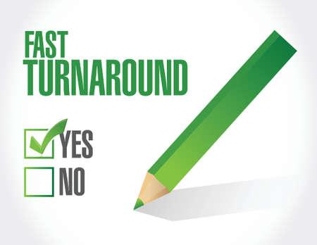 turnaround: fast turnaround approval sign illustration design over white