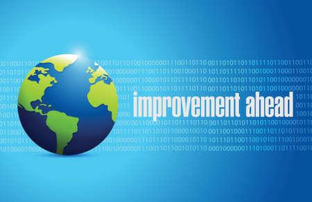 yield sign: improvement ahead globe sign illustration design over blue Illustration
