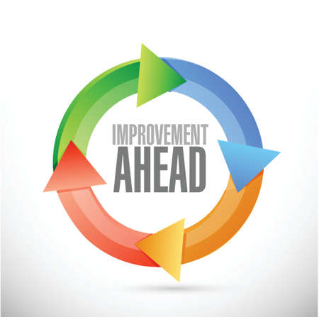 yield sign: improvement ahead cycle sign illustration design over white