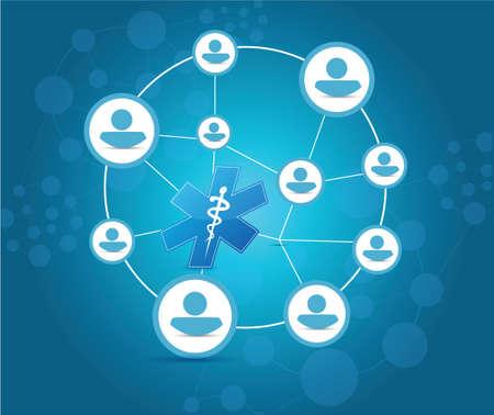 surgical nurse: medical network and communication concept illustration design over blue