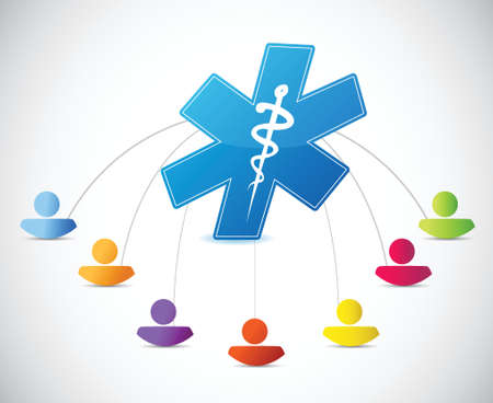 expertise: medical symbol people links concept illustration design over white