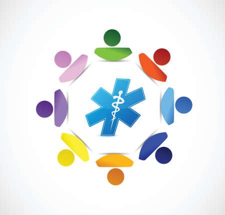 symbol people: medical symbol people diversity concept illustration design over white